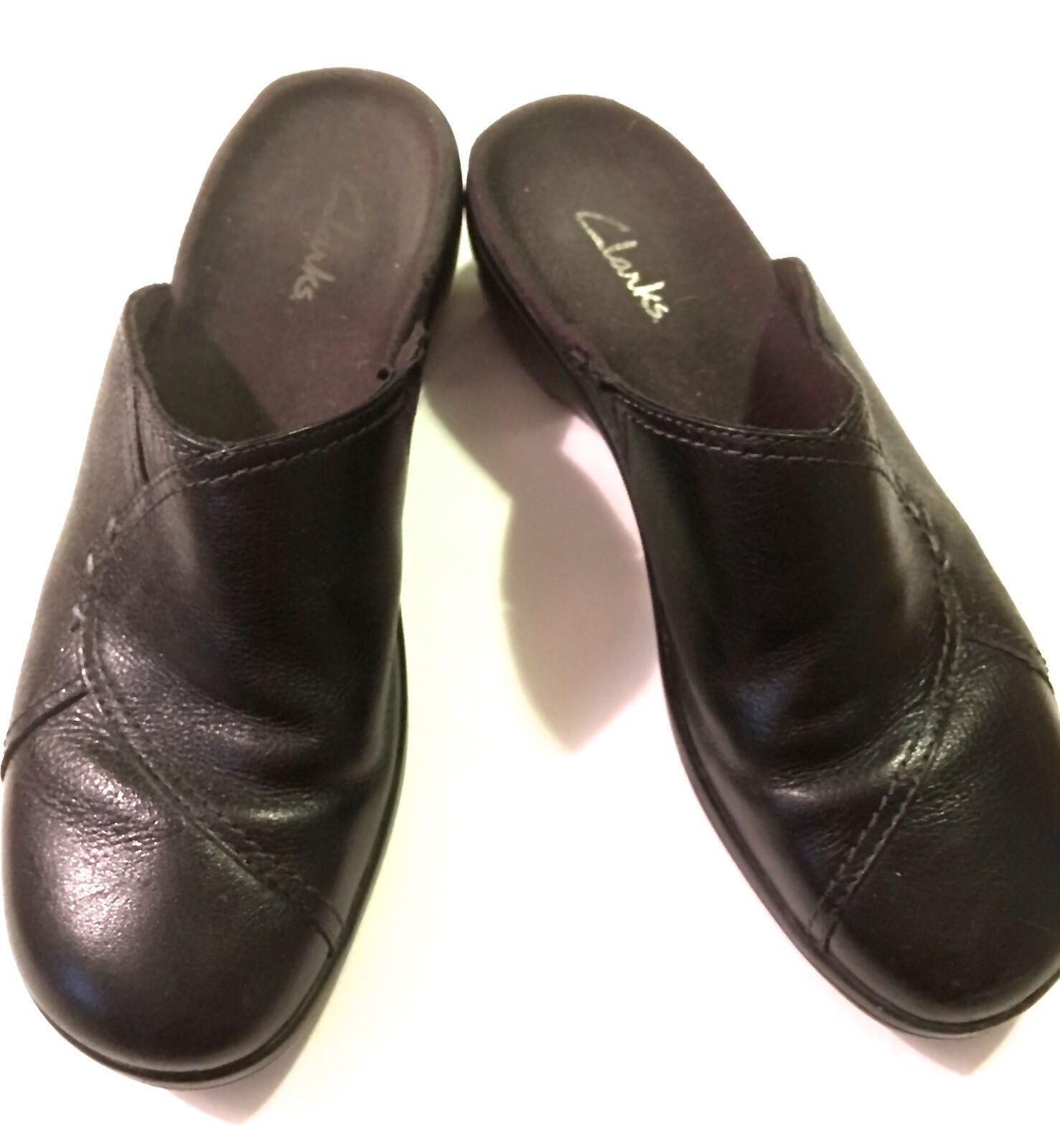 Clarks Black Leather Mules, Slides, 7.5M, Comfort Ultra Soft Leather, Cushioned Comfort 7.5M, 3c865e