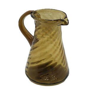 Vintage-Hand-Blown-Art-Amber-Glass-Pitcher-In-Twisted-Wavy-Stripe-Pattern-4-1-2