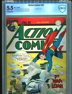 Action-comics-86-CBCS-5-5-OW-WHITE-pgs-CGC-Classic-Superman-WWII-Cover-DC-1945