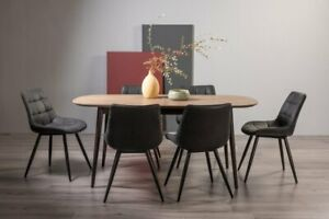 Tuxen Weathered Oak 6-8 Seat Dining Table & 6 Seurat Dark Grey Faux Suede Chairs