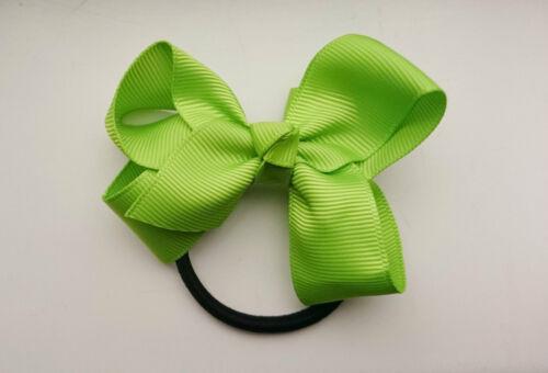 "3.3/"" Grosgrain Ribbon Bow Hair Elastic Ponytail Hair Band Bobble Girls//Ladies"