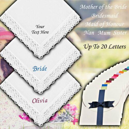 PERSONALISED WHITE LACE HANDKERCHIEF 100/% COTTON NAME DATE WEDDING BRIDE LADIES