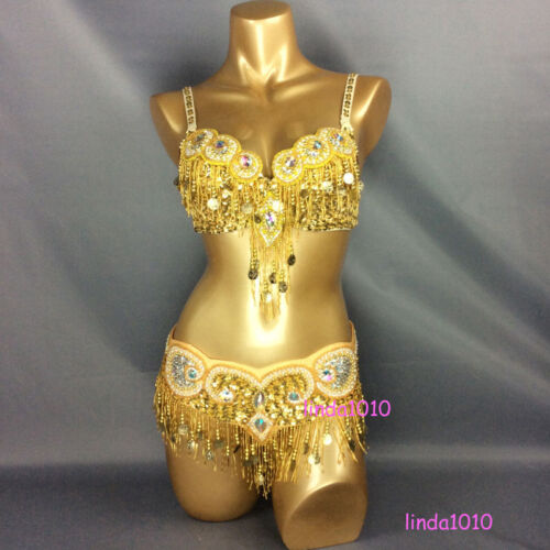 C1601 Belly Dance Costume Outfit Set Bra Belt Carnival Bollywood Indian 2 PCS