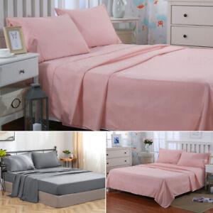 4PCS-Bed-Sheet-Set-Deep-Pocket-Fitted-Sheet-Pillowcase-Flat-Sheet-Queen-Gray-US