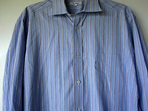 Faconnable Shirt 16R Blue Brown Stripes Long Sleeve Button Down Made USA Cotton