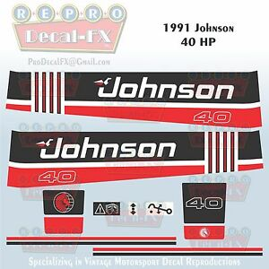 1985 Johnson 30 HP Sea-Horse Outboard Reproduction 11 Piece Marine Vinyl Decals