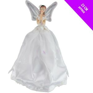9-034-White-Snow-Fairy-Angel-Christmas-Tree-Topper-Xmas-Decoration-Ornament