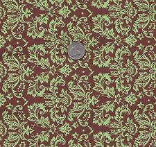 QUILT FABRIC: 100% COTTON, SMALL DAMASK GREEN ON CHOCOLATE  PD-06 By The Yard