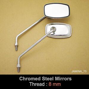 Suzuki TC90 TC100 TC125 TC185 TC250 TC305 8mm Chrome Steel Mirror Rectangle