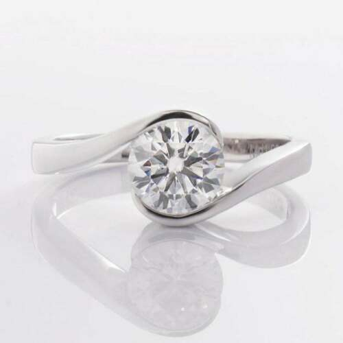 Details about  /1ct Certified White Real Round Genuine Moissanite Diamond 10K Solid Gold Ring