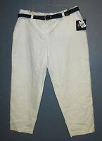 By & By White Cotton Blend Capris Cropped Pants W/ Black Belt Junior Size 15