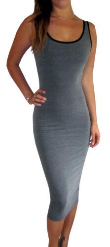 Peaches/&Cream Long Jersey Midi Maxi Summer Dress Black Size UK 8 10 12 14 16 18