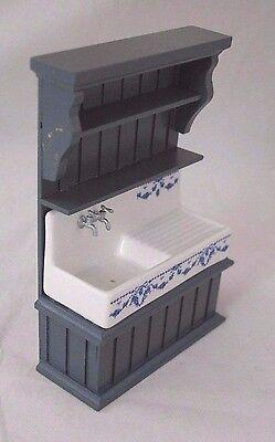 Reutter Porzellan Kitchen Sink Blue//Blue Sink Cabinet 1:24 Dollhouse