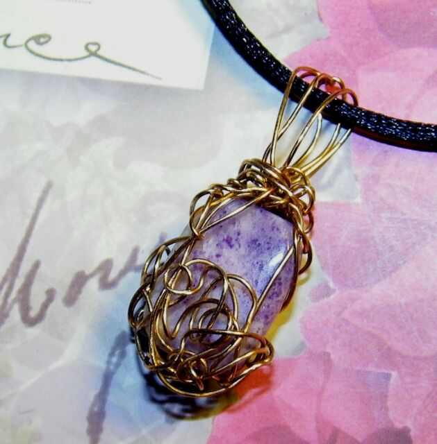 STUNNING HAND-CRAFTED GOLD-WIRE-WRAPPED SUGILITE PENDANT  1-1/2 INCHES