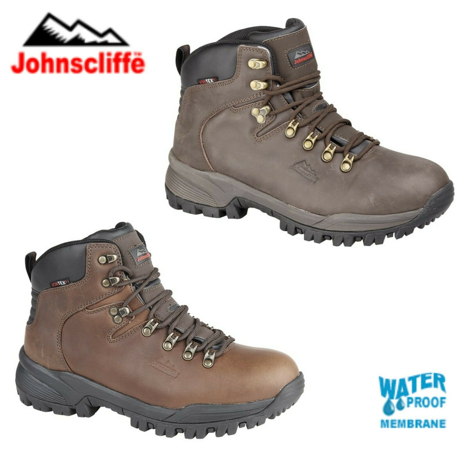 JOHNSCLIFFE Brown Leather Waterproof Hiking Boots - Size 4 5 6 7 8 9 10 11 12 13