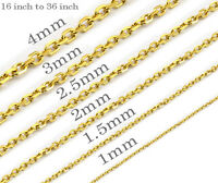 Vacuum Ion Plating Mens Womens Stainless Steel Simple Chains Gold Necklaces