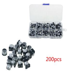 10value-200pcs-SMD-Aluminum-Electrolytic-Capacitors-Assortment-Box-Kit