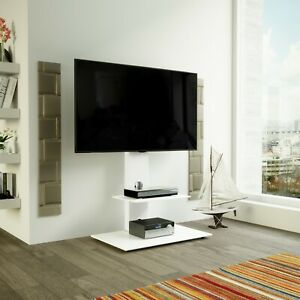 Satin-White-TV-Stand-Cantilever-with-TV-Mount-Bracket-32-60-034-LED-LCD-Curved