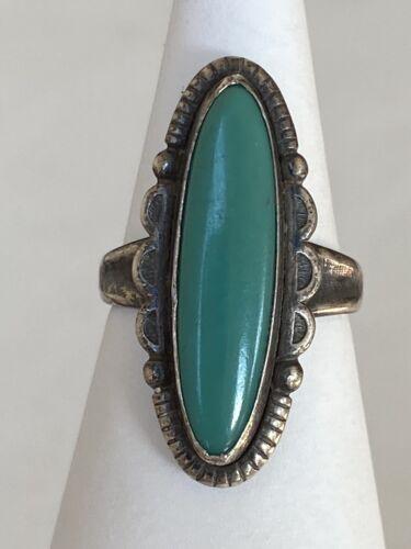 Bell Co Malachite Sterling Silver Ring Southwest Green Fred Harvey Era