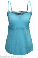 NEW M&S TURQUOISE BLUE SUMMER EVENING CRINKLE STRAPPY CAMI SUN TOP SIZE 8- 20