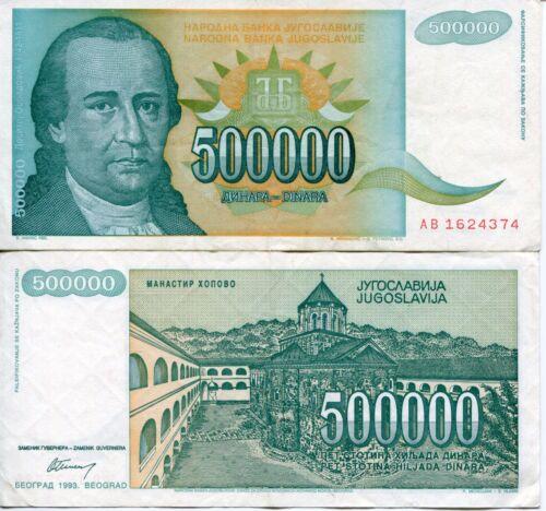 FRJ Dositej Obradović Yugoslavia 1993 500000 Dinar Dinara Yugoslav Banknote