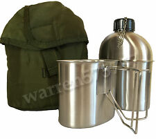 MILITARY STAINLESS STEEL STYLE CANTEEN WITH CUP,  1.3LITER (44oz.)Brand-New