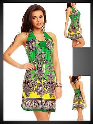 Deluxe Neckholder Sommerkleid Minikleid Druckkleid Kleid ...