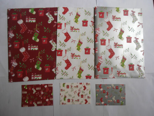 Christmas Stockings Red White Silver Christmas gift wrap 12 sheets /& 12 tags