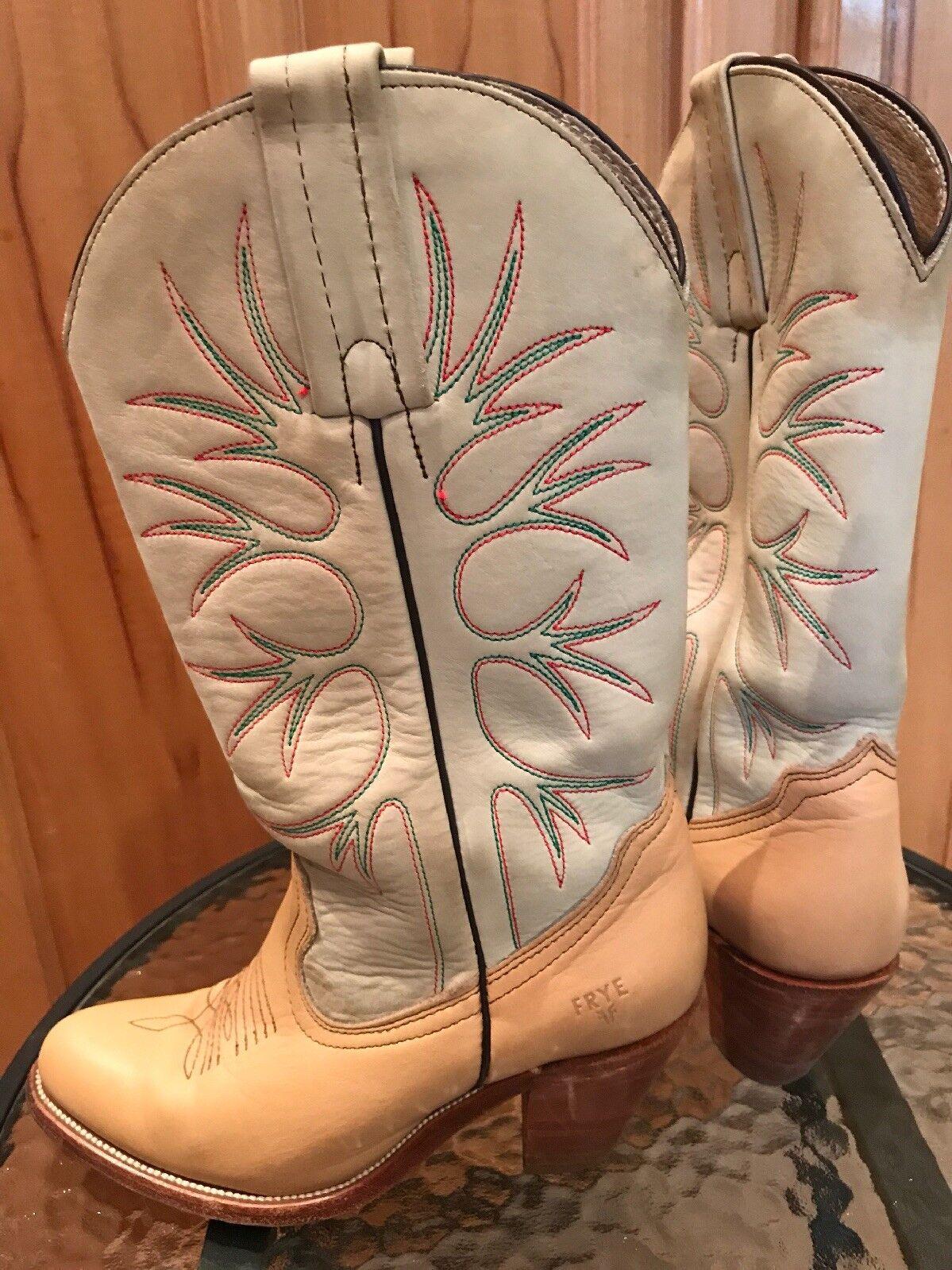 Vintage Frye Cowboy Tan Suede & Leather Cowboy Frye Boots Women's 7 B Gently Worn 1aa1fb