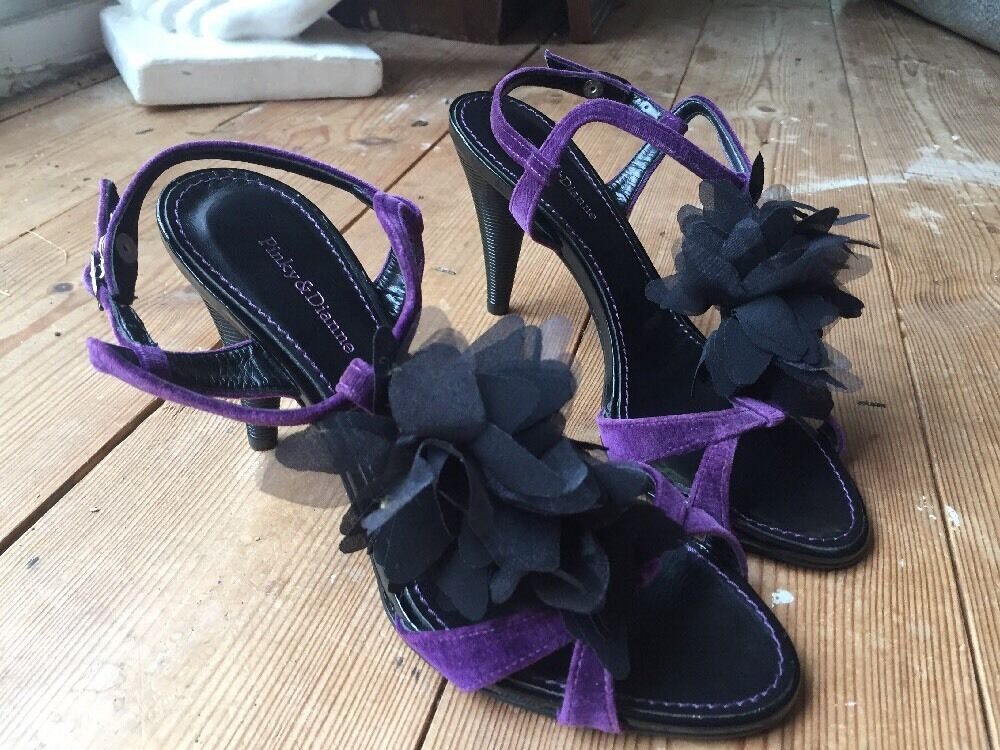 ❤️ Sexy Purple PINKY & DIANNE Japan Purple Sexy T-Bar Velvet Flower Heels EU36 UK3 + d2e554