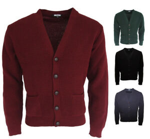 Relco-Classic-Waffle-Knit-Cardigan-Football-Boutons-SMALL-2XL