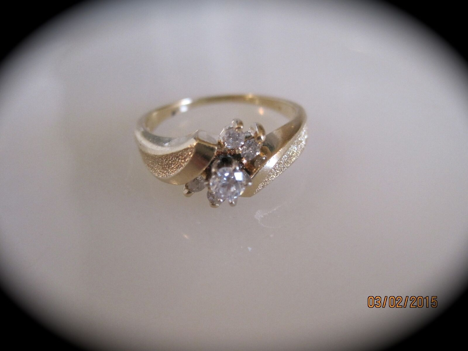 14K Yellow gold Size 6.75 Diamond Solitaire w  Accents Ring   R679