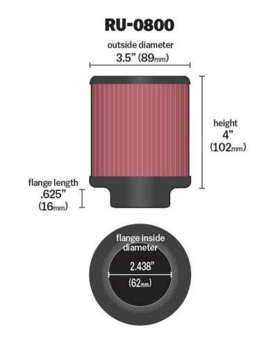 "3-1//2/""OD RU-0800 K/&N Universal Rubber Air Filter 2-7//16/""FLG KN Universal 4/""H"
