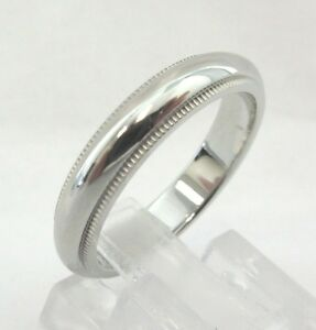 TIFFANY Amp Co Platinum 4mm Milgrain Wedding Band Ring 7