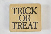 Vintage 1986 Stampa Barbara Trick Or Treat Halloween Wood Mounted Rubber Stamp