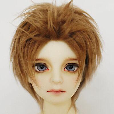 Dark Brown Short Wool Wig Hair For MSD AOD DZ 1//4 BJD Dollfie 18-19cm PF