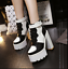 Womens-Platform-Chunky-Block-High-Heels-Multi-Color-Gothic-Lace-up-Ankle-Boots thumbnail 4