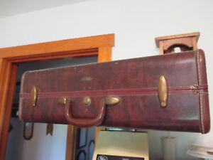 Vintage Samsonite Brown Marble Luggage Checked Interior Hard Case 24x19x9 NO KEY