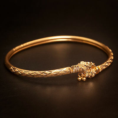 Handmade Dubai Bangle Bracelet In Solid Certified Hallmark 22Karat Yellow Gold