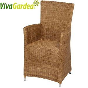 sessel hochlehner stuhl aus polyrattan geflecht indoor outdoor sehr bequem ebay. Black Bedroom Furniture Sets. Home Design Ideas