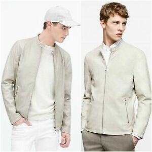 ZARA Man BNWT Authentic Cream Ice Faux Leather Bomber Jacket S M L ...