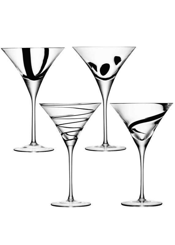 LSA Jazz Noir martini en verre 0.25 L (lot de 4)