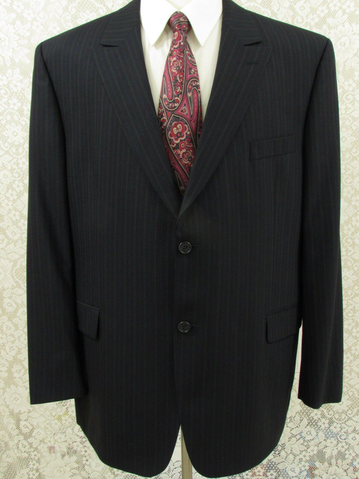 J. Victor Men Wool Suit Navy bluee Striped 46R Two Button Pleated Front W40XL29