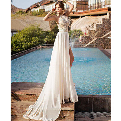 Lace Long Sexy Chiffon Bridesmaid Evening Formal Party Cocktail Dress Gown Prom