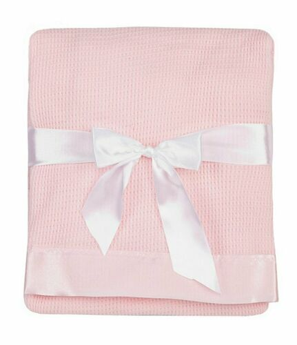 LIKE BABY MORGAN Thermal Waffle Weave Baby Blanket with Satin Nylon Trim