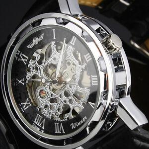 Montre-neuve-Homme-Automatique-Squelette-Noir-Romain-Bracelet-Cuir-Cadeau-ideal