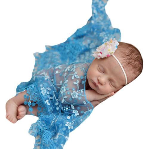 Fotoshooting Kostüm Baby Wrap Wickeltuch Spitze 0-12 Monate verschiedene Farben