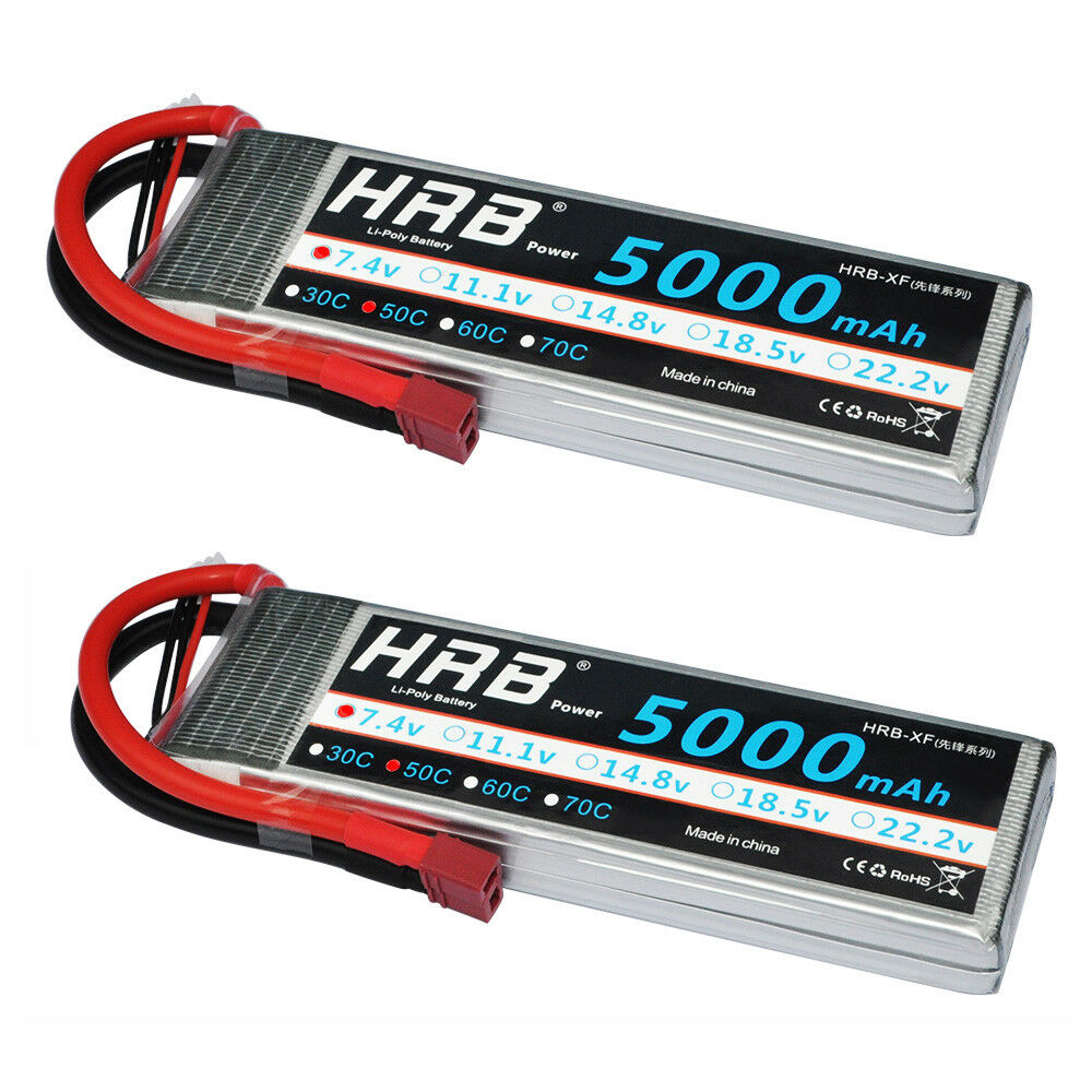 2pcs HRB 7.4V 2S 5000mAh LiPo Battery 50C-100C Deans for RC Helicopter Car FPV