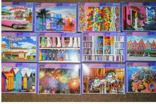 Lot of 5 New 300 Piece Jigsaw Puzzles Mystery Lot Animals~Landscapes~Foods~????