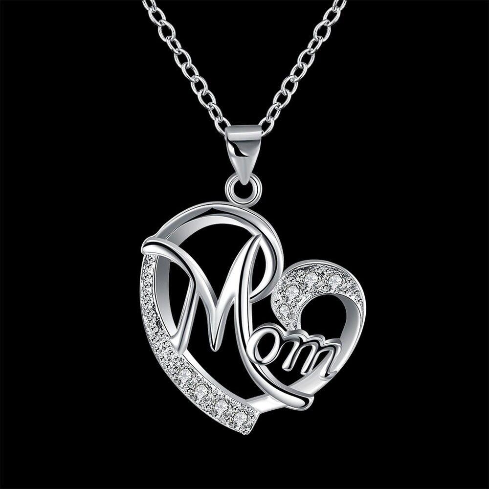 JQ_ Mom Heart-shaped Pendant Alloy Rhinestone Women Necklace